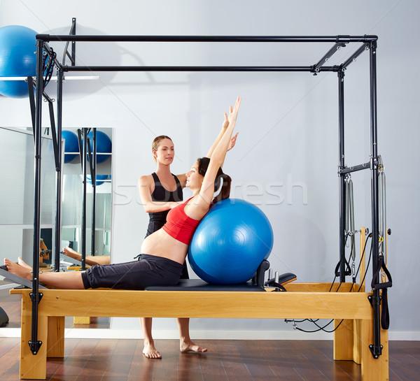 pregnant woman pilates reformer fitball exercise Stock photo © lunamarina