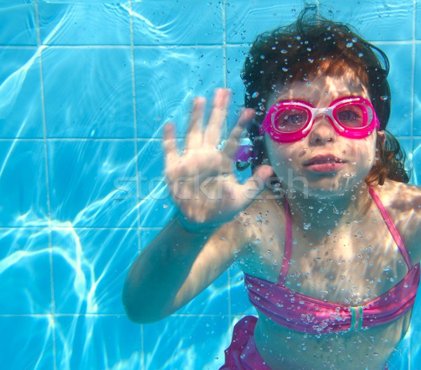 underwater little girl pink bikini blue swimming pool Stock photo © lunamarina