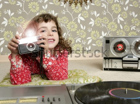 Stock photo: camera retro photo little girl in vintage room