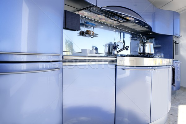Blue silver kitchen modern architecture decoration Stock photo © lunamarina