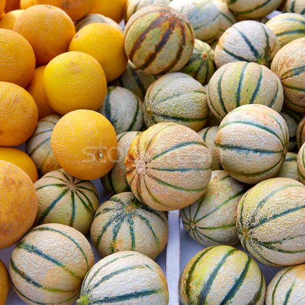 Cantaloupe and yellow melons at the marketplace Stock photo © lunamarina