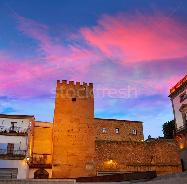 Caceres Plaza Mayor Extremadura of Spain Stock photo © lunamarina