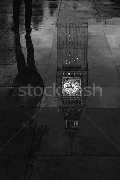 Big Ben Clock Tower puddle reflection London Stock photo © lunamarina