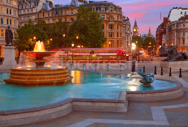 London Trafalgar Square fountain at sunset Stock photo © lunamarina