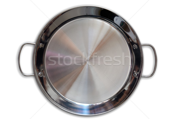 Paella pan in stainless steel on white Stock photo © lunamarina