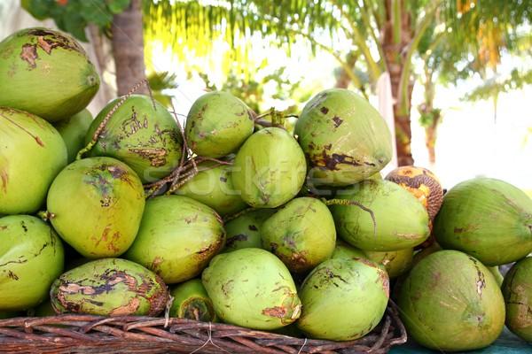 Fresh tender coconuts mound Caribbean Mexico Stock photo © lunamarina
