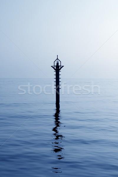 Achtergrondverlichting baken middellandse zee Blauw zee reflectie Stockfoto © lunamarina