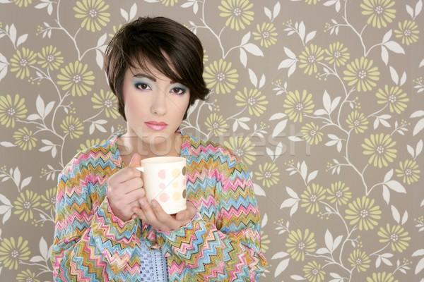 Stok fotoğraf: Kahve · fincanı · içme · Retro · moda · 60s · kadın