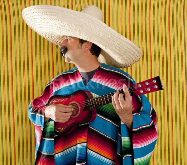 Mexican man serape poncho sombrero playing guitar Stock photo © lunamarina