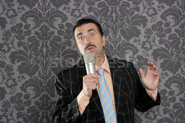 nerd retro mustache man microphone singing silly Stock photo © lunamarina