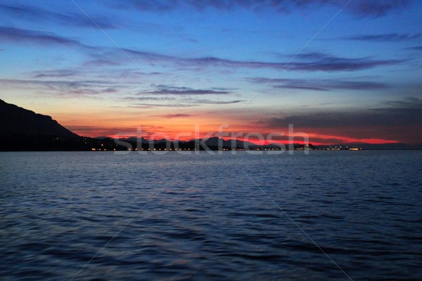 Coucher du soleil vue mer rétroéclairage ciel Photo stock © lunamarina