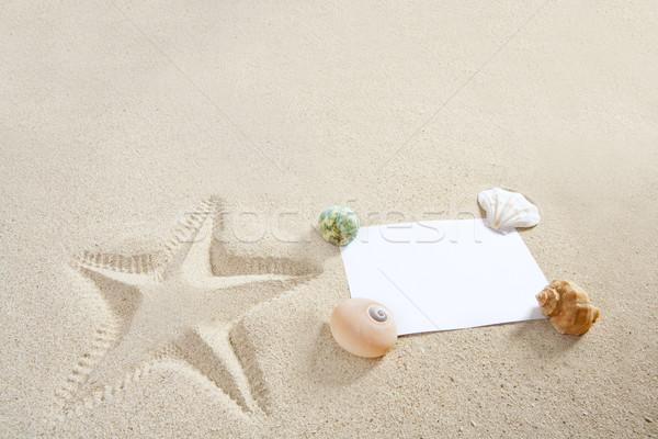 Stock photo: blank paper beach sand starfish pint shells summer