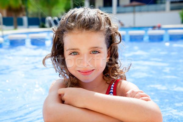 Сток-фото: счастливым · Kid · девушки · улыбаясь · Бассейн · Летние · каникулы
