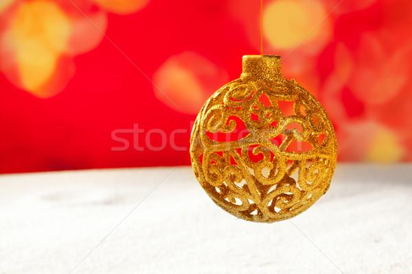 Noel altın önemsiz şey kar kırmızı bokeh Stok fotoğraf © lunamarina