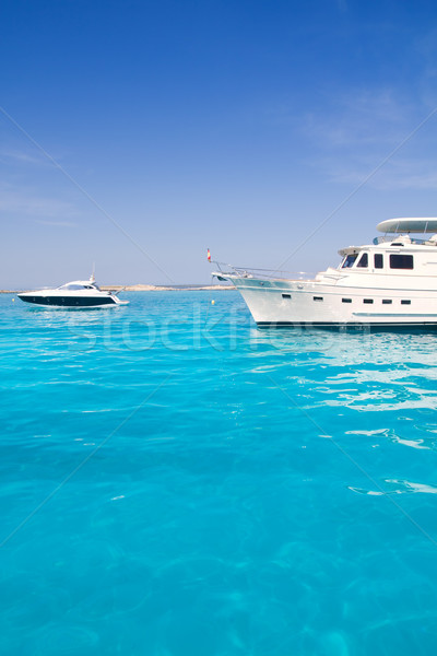 yatch in turquoise beach of Formentera Stock photo © lunamarina