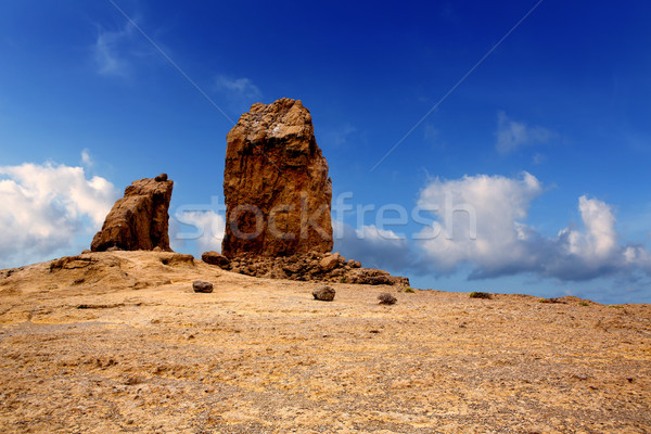 Gran canaria Roque Nublo blue sky Stock photo © lunamarina