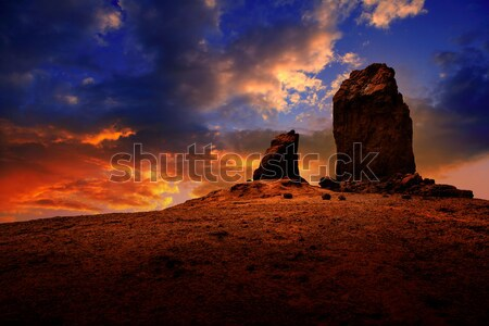 Gran canaria roque nublo dramatic sunset sky Stock photo © lunamarina