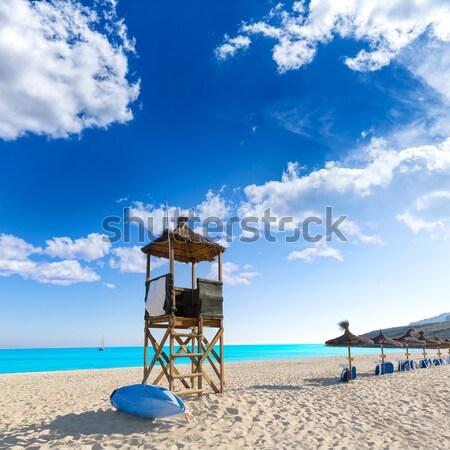 Plaży ratownik domu biały piasek turkus idylliczny Zdjęcia stock © lunamarina