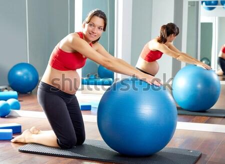 Stabilitás labda nők pilates osztály hátsó nézet Stock fotó © lunamarina