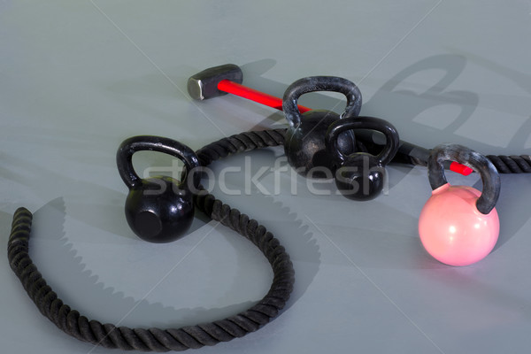Crossfit Kettlebells ropes and hammer Stock photo © lunamarina