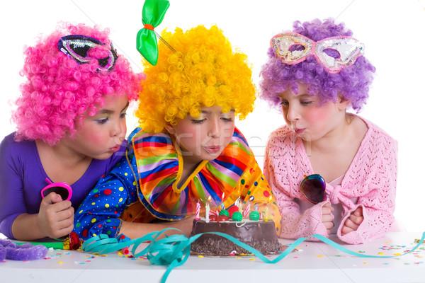 Stockfoto: Kinderen · verjaardagsfeest · clown · cake · kaarsen