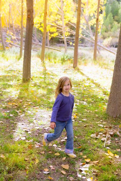 Jesienią dziecko dziewczyna uruchomiony topola drzewo Zdjęcia stock © lunamarina