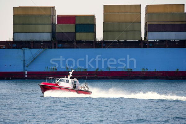 Boat of port pilots compared to cargo container  Stock photo © lunamarina