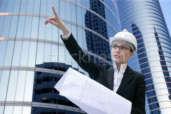 architect woman working outdoor with buildings Stock photo © lunamarina