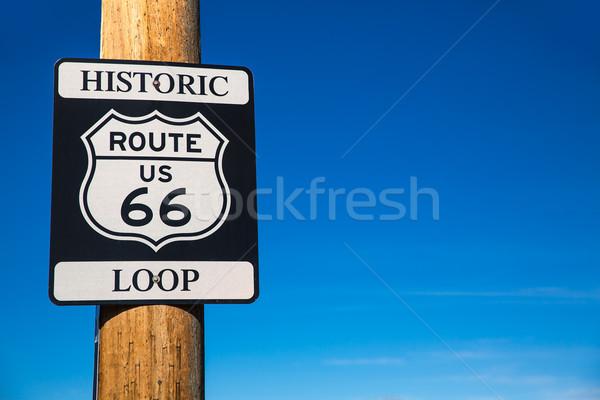 Ruta 66 senalización de la carretera Arizona EUA carretera bucle Foto stock © lunamarina