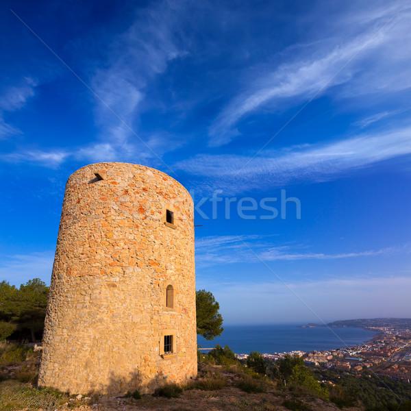 Javea Xabia Molins de la Plana old windmills Alicante Stock photo © lunamarina