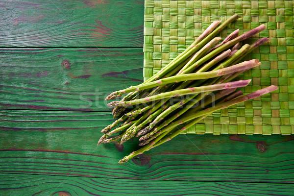 green asparagus fresh on wood table Stock photo © lunamarina