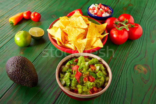 Mexican food nachos guacamole pico gallo chili Stock photo © lunamarina