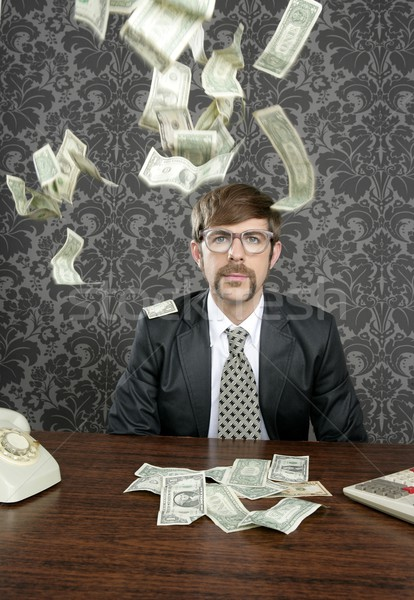 nerd businessman retro office flying dollar note Stock photo © lunamarina