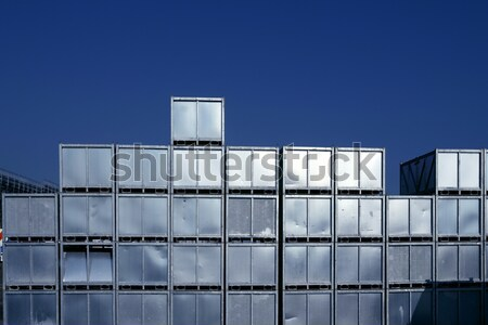 Blue glass and silver cubic architecture building Stock photo © lunamarina