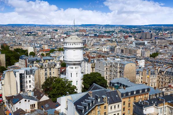 Parijs skyline antenne montmartre Frankrijk gebouw Stockfoto © lunamarina