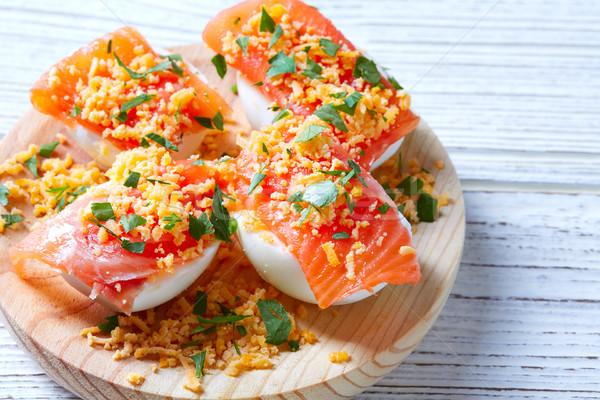Filled eggs with salmon pinchos tapa Spain Stock photo © lunamarina