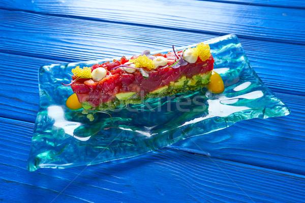 Atum peixe alga fundo azul Foto stock © lunamarina