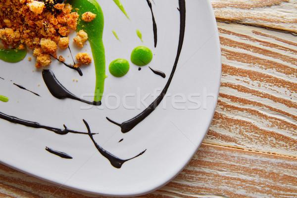 Molecular gastonomy cuttlefish roes mayonnaise Stock photo © lunamarina