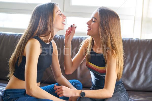 Teenager girls best friends makeup each other Stock photo © lunamarina