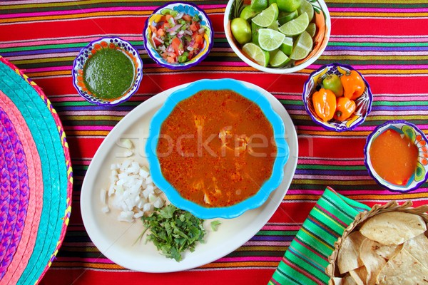 Pancita mondongo mexican soup varied chili sauces Stock photo © lunamarina