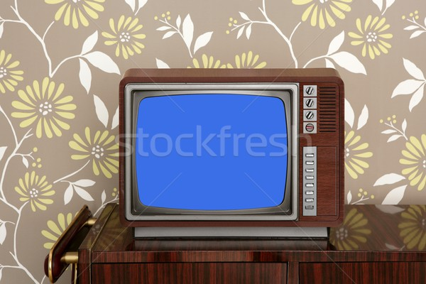 Retro tv 60s muebles floral Foto stock © lunamarina