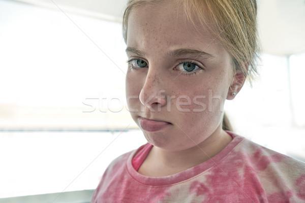 Blond angry lips kid girl expression  Stock photo © lunamarina