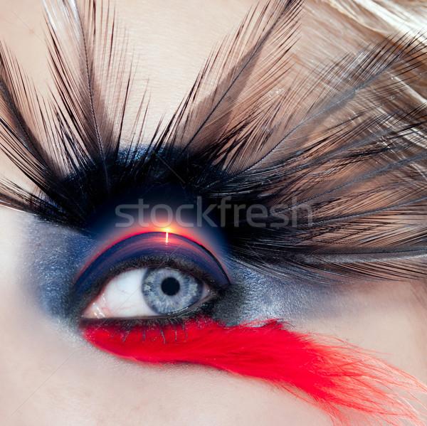 Czarny ptaków kobieta makijaż oczu makro plaży Zdjęcia stock © lunamarina