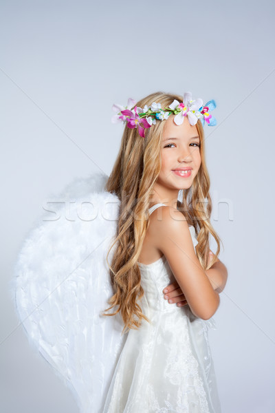 Stock photo: Angel children little girl portrait fashion white wings