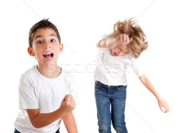 excited children kids happy screaming and winner gesture Stock photo © lunamarina