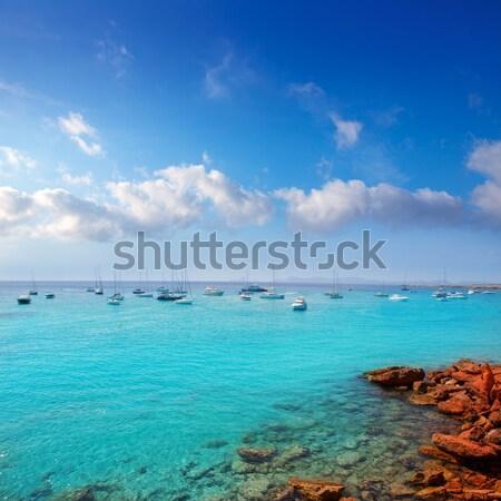 Cala saona in summer with many boats anchored Stock photo © lunamarina