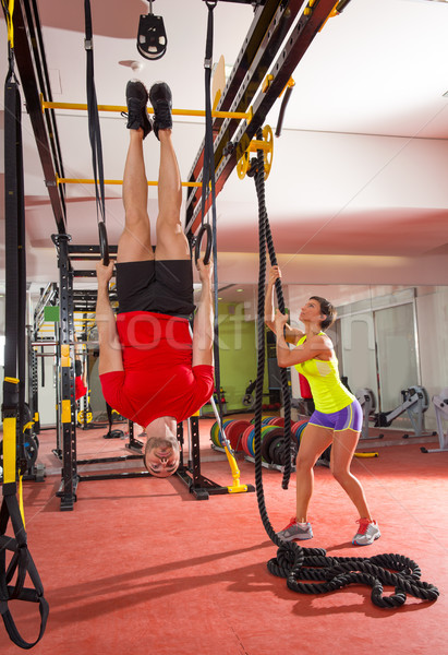 Crossfit fitness ring man training Stockfoto © lunamarina