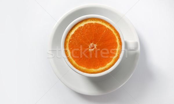 Pomarańczowy plasterka filiżankę kawy naturalnych żywności kofeina metafora Zdjęcia stock © lunamarina