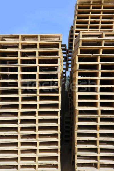 wooden pallets stacked outdoor blue sky Stock photo © lunamarina