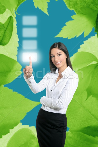 Stock photo: Brunette ecological businesswoman touch keypad